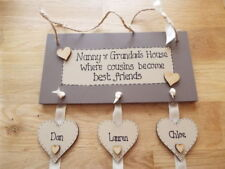 Mum, Nan, Grandma, Grandchildren 3-12 hearts wooden sign FAMILY gift shabby chic