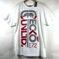 ECKO Unltd Mens White Logo Graphic T-Shirt Spell Out Red Silver Print Tee Sz XL