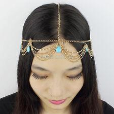 New Golden Women Fashion Metal Rhinestone Gem Head Chain Jewelry Headband Head