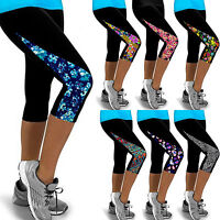 Womens YOGA Workout Gym Print Cropped Pants Leggings Fitness 3/4 Capri Trousers
