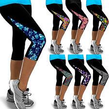 Womens Print Yoga Workout Gym Pants Skinny Leggings Fitness 3/4 Capri Trousers