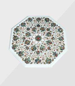 "23"" Marble Table Top Handmade Semi precious stones floral art Work Home Decor"