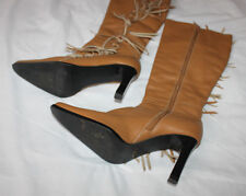 Bojola Brown Leather Knee High Zip Up Fringe Boots High Heels Size 8 Brazilian
