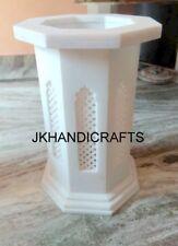 "18"" White Marble Table Top Stand Taj Mahal Jaali Art Handmade Home Decor Gift"