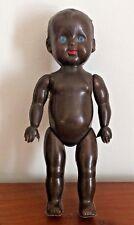 Petite poupée noire yeux bleus vintage plastique dur/ Vintage small black doll