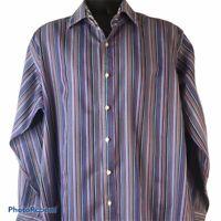TD Thomas Dean Mens Dress Shirt XXL Blue White Red Stripe Contrasting  Cuff Trim