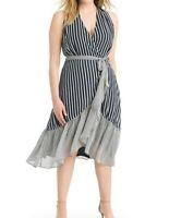 Gabby Skye Mixed Stripe Ruffle Front Chiffon Warp Dress Size 14W - No Belt