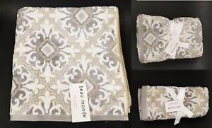BEAU MONDE BEIGE,IVORY+GREY 3D PATTERN COTTON BATH,2 HAND TOWEL,OR 2 FINGERTIP