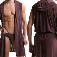 Men Bathrobe Sleeveless Silk Slippery Pajamas Hooded Robe Bathrobe Ultra-thin XE