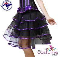 NEW Burlesque Purple Tiered Skirt Size 8 -16 Ladies Petticoat Tutu Dancewear AU