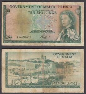 Malta 10 Shillings L. 1949 (1963) Banknote (F) Condition Banknote P-25 QEII