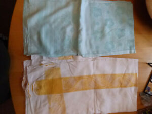 VINTAGE TABLECLOTHS - PALE BLUE & WHITE WITH GOLD EMBOSSED WEAVE X 2