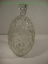 Glass Candy Box Dish Bowl Chocolate Nuts Egg Shaped Dimond Design