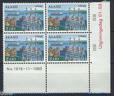 Aland/Åland 1984, Ships MNH in marginblock of four 2