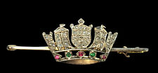15ct Gold Antique Naval Coronet Crown Brooch - Diamond, Ruby & Emerald