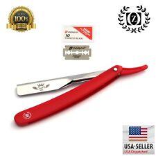Barbero de corte recto con barbero y 10 cuchillas Dorco Rojo Navaja