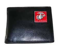 U.S. Marine Corps Mens Leather Bi-fold Wallet Black USMC