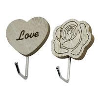 2 pezzi di fiori in legno a forma di cuore decorativo da parete appendiabiti