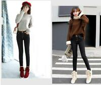 Winter Women Thick Thermal Warm Fleece Nap Jeans High Waist Trousers Slim Pants