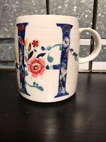 Anthropologie Starla Halfmann Petal Floral H Letter Initial Monogram Coffee Mug