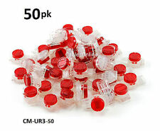 50-PACK Red 3-Wire IDC Connector, Splices 19-25 AWG Wire, CM-UR3-50