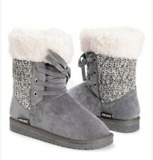 Women's Boots 8 Lace Up Mukluks Warm Ankle Winter Gray