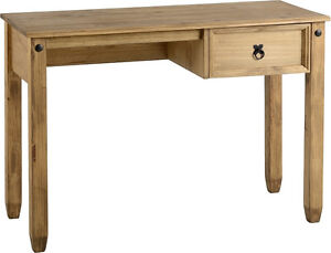 Budget Mexican Study Desk Workstation in Distressed Waxed Pine
