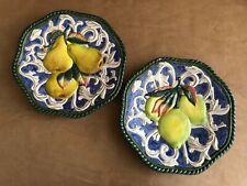 Fitz & Floyd Classics Pear & Lemon Plate Decorator wall hanging fruit set lot 2