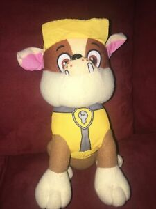 "Paw Patrol Rubble Stuffed Animal Toy Plush Nickelodeon 9"" Tall Spin Master 2015"