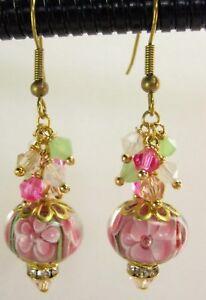 Pink Lampwork Glass Earrings Handmade Floral Glass Crystal w Swarovski Elements