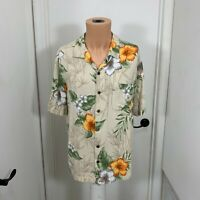 Caribbean Joe Let Go Mens l large Shirt Tropical Hawaiian Rayon Floral hibiscus