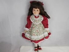 """Pretty PORCELAIN DOLL RED DRESS 16"""" No Stand"""