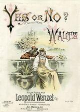 """""""YES OR NO (OUI OU NON)"""" Couverture de partition originale entoilée 1894"""