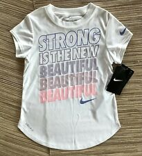 """Nwt Nike Tee Girl's Top Dri-Fit """"Strong Is The New Beautiful� White 6X Ret $18"""
