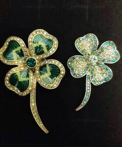 "HEIDI DAUS ""Lady Luck"" TWO Shamrock / 4 Leaf Clover Pins St Patrick's Day- NIB"