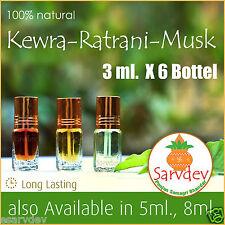 2Kewra, 2Musk, 2Ratrani Attar Each 3ml, 100% Pure by Sarvdev Or Your Choice