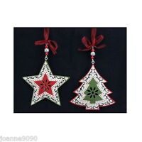 GISELA GRAHAM FRETWORK STAR RETRO NORDIC CHRISTMAS TREE ORNAMENT DECORATIONS