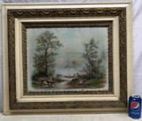 Vtg Antique Victorian RAYMOND Litho Print Art Country Cow Lake Flor De Lis Frame
