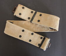 Vintage Military Style Khaki Heavy Canvas Adjustable Belt with Metal Buckle