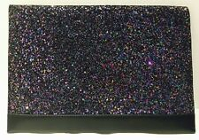 LuluGuiness Clutch - Brand New Glitter Black Leather Clutch (Perfect Gift)