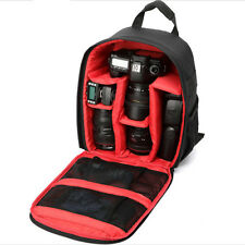 Durable Waterproof DSLR Backpack Case Bag For Canon Nikon Sony Camera Lens Red