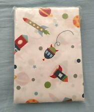 NEW kids Space Rockets Planets Moons Stars fabric Shower Curtain NIP fun 70x72