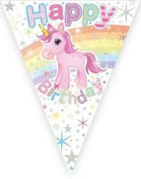 ** 12FT UNICORN HAPPY BIRTHDAY FLAG BUNTING BANNER PARTY DECORATIONS GIRLS NEW