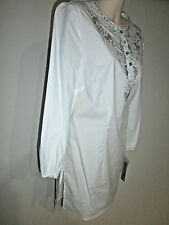 WD . NY White Tunic blouse 5% spandex Bling  New Tags Sz 8