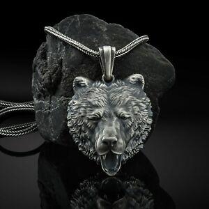 Silver Bear Necklace,Bear Head Pendant, Men Bear Necklace, Viking Bear Pendant