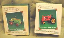 Hallmark Christmas Ornaments Set of 2 miniature antique tractors - NM+ w/ box