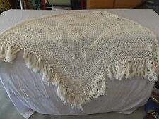 "afghans Home Made Crocheted  Scarf Shawl Off White 38""x50""Acrylic,Throw Blanket"