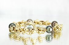 """14K Yellow Gold Tahitian Black Pearl 8"""" Bracelet with Toggle Clasp"""