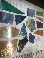 #1065 IRIDESCENT LRG Piece SCRAP Stained Glass 2+# pound SHIP FREE PicsGLASSUGET