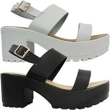 NEW LADIES CHUNKY CLEATED LOW MID BLOCK HEEL CUT OUT PEEP TOE SANDALS SIZE BEACH